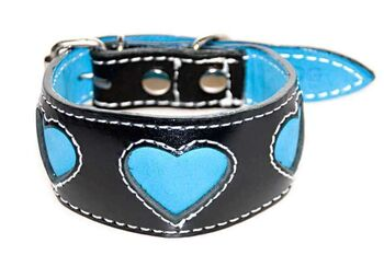 Turquoise hearts hound collar