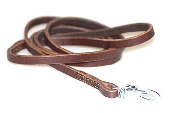 Brown leather dog leash 1.5m