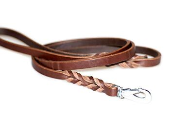 Wide brown leather dog lead 1.80m
