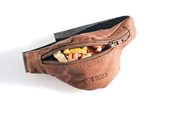 Dog training brown leather arm treat pouch for the wrist from Dog Moda