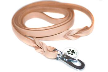 Wide beige leather dog leads 1.2m / 4ft long