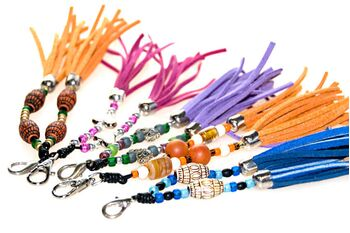 Handmade dog collar tassels, key ring and handbag charms from Dog Moda