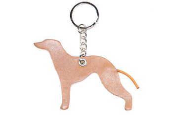 Fawn leather Whippet keyring fob / bag charm