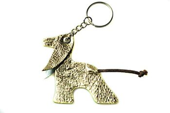 Gold Afghan hound key ring