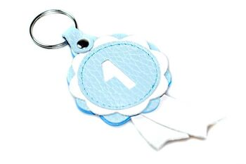 Baby blue winner show rosette key ring
