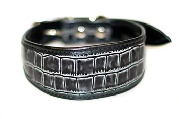 Grey leather hound collar