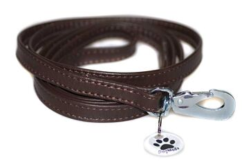 Brown nappa leather stitched dog lead 1.5m / 5ft