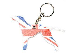 UK Greyhound key ring with Union Jack flag design from Dog Moda