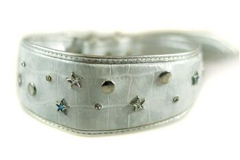 Silver crystal stars hound silver leather collar