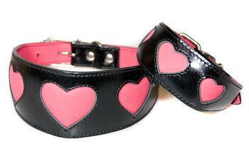 Pink hearts whippet and greyhound collars