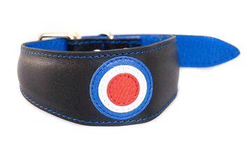 RAF / MOD pilot black luxury leather sighthound collar