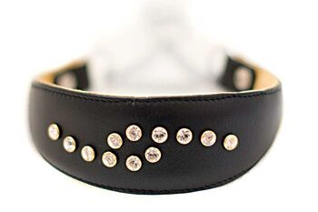 Black Swarovski crystal martinagale sighthound collar