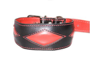 Red rhombi hound collar is a popular choice for male sighthound