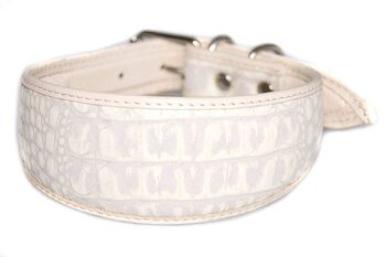 White arctic fox leather hound collar
