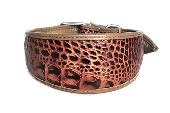 Brown cobra leather hound collar