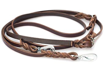 Police style brown premium soft leather dog training leash