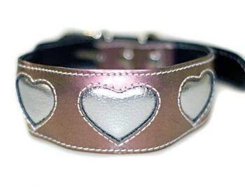 Iridescent metallic pink with silver hearts Greyhound / Lurcher / Saluki leather collar